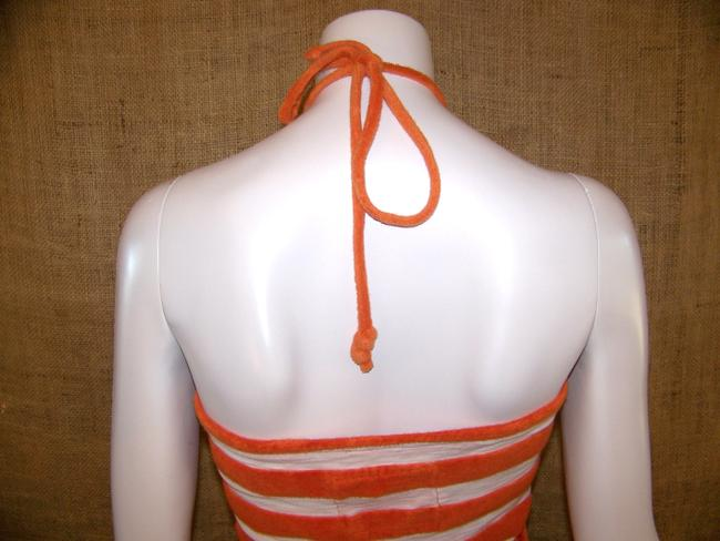 Twisted Heart short dress Orange White Beach Party French Terry Striped Halter on Tradesy