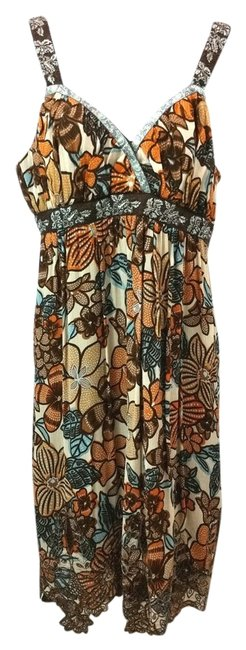 Item - Brown Floral Empire Waist Mid-length Short Casual Dress Size 10 (M)