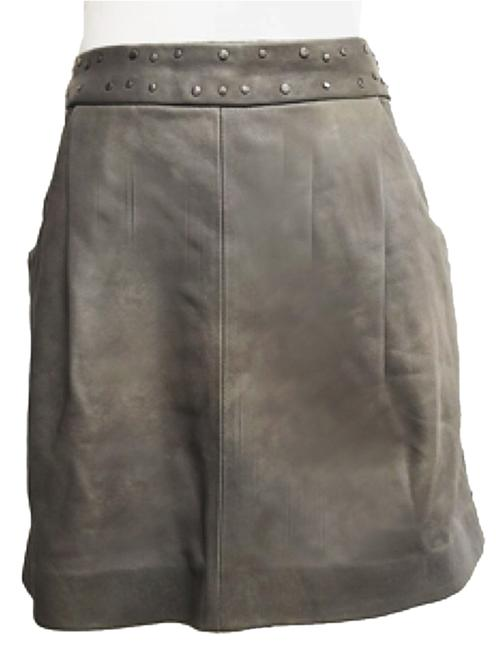 Item - Taupe Grey Sauvage Leather Skirt Size 10 (M, 31)