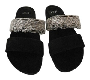 Other Jfk Bb184 Intricate Beaded Vamp Molded Footbed Comfortable Black Sandals