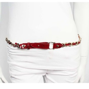 Burberry SALE Burberry Auth Red Patent Leather Gold Chain Belt M