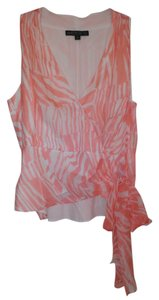 Lafayette 148 New York Zebra Silk Wrap Top Coral/White