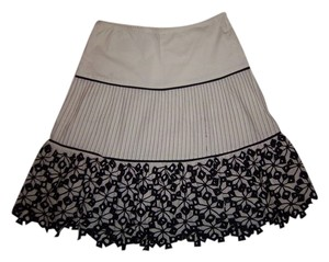 XOXO Lace Pleated Tiered A-line Floral Striped Skirt White/Black