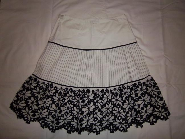 XOXO Lace Pleated Tiered A-line Floral Skirt White/Black