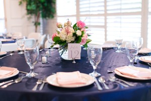 Complete Set Of Satin Navy Table Linens