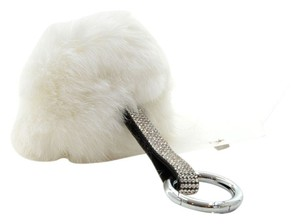 Other White Pom Pom Key Chain Genuine Rabbit Fur Rhinestone Crystal Accent Bag/Purse Charm