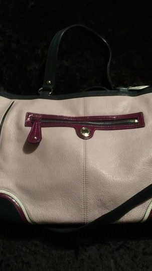 Coach Leather Tote Unique Get Noticed Satchel in Pink, trimmed with navy, burgundy and white