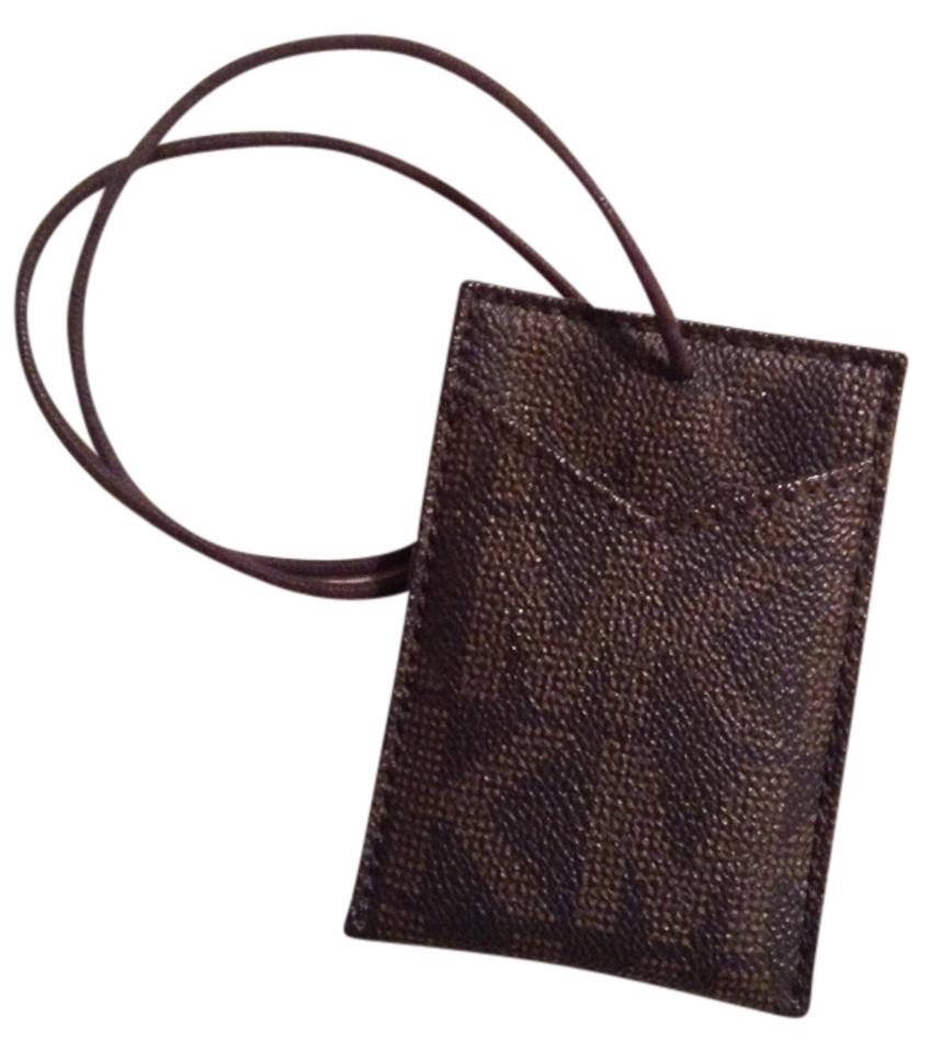 Michael Kors Brown Saffiano Mk Business Card/Luggage Tag Holder ...