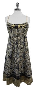 Nicole Miller Black Gold Print Silk Dress