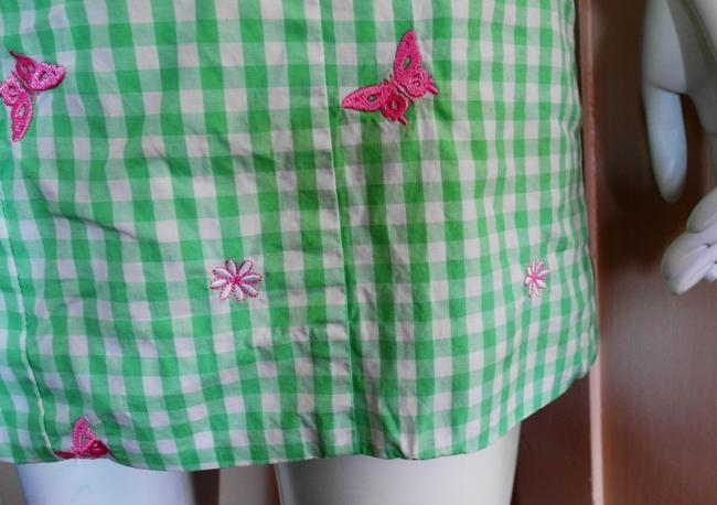 Lilly Pulitzer short dress Green Pink Sundress Floral Lined Gingham Embroidered on Tradesy