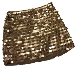BCBGMAXAZRIA Sequin Mini Short Bcbg Mini Skirt Gold