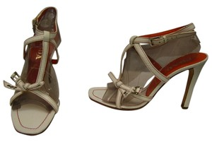 Prada T-strap Ankle Wrap 7.5 white Sandals