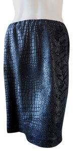 Ellen Tracy Reptile Straight Knee Length Skirt Black
