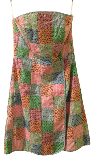 Item - Multi-colored Patchwork Above Knee Short Casual Dress Size 2 (XS)