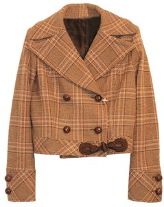 Valentino Roma Brown Plaid Tartan Brown, Camel, Orange, Purple Blazer