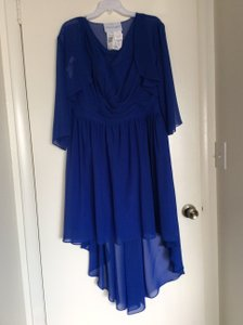 Alfred Angelo Cobalt Blue Chiffon Formal Bridesmaid/Mob Dress Size 18 (XL, Plus 0x)