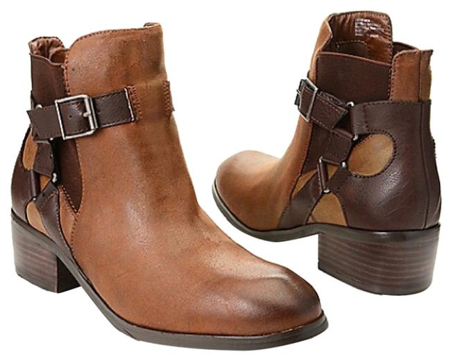 """Item - Chocolate A Med Brown Upper W Dark Brown Harness W Pewter-tone Hardware Nib//Style""""Kershaw""""/Harness Buckle Detailed Ankle Boots/Booties Size US 8 Regular (M, B)"""