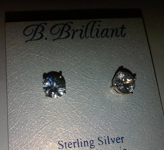B. Brilliant Clear Silver Sterling Cubic Zirconia Stud Solitaire (4 Ct. T.w.)8mm Earrings