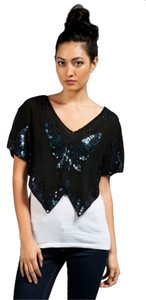 Free People Butterfly Sequin Kimono Rero Pinup 70s Chic Party Date Night Cocktail Top Black