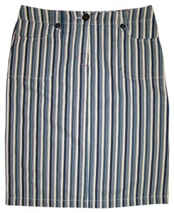 Boden Navy Striped Pencil Straight Skirt Navy Khaki