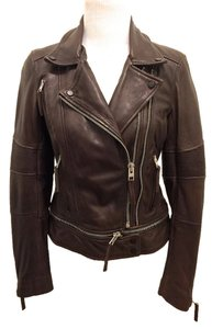 AllSaints Leather Motorcycle Leather Moto Brown Leather Jacket