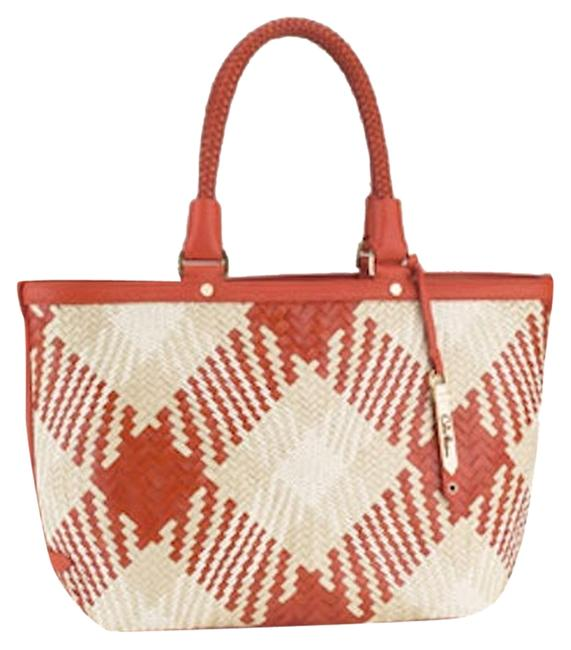 Item - New with Tags Genevieve Plaid In Spicy Woven Orange/Beige Leather Tote