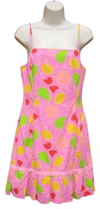 Lilly Pulitzer short dress Pink Fruit Print #lillypulitzer #shift #pink #spaghettistrap #casual on Tradesy
