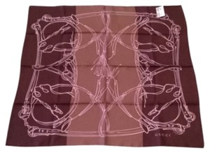 Gucci Gucci Women's 251146 Burgundy Silk Horsebit Chain Twill Neck Scarf