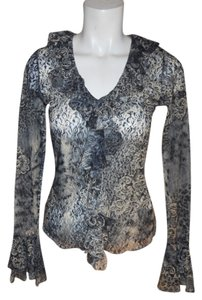 Karen Kane Ruffle Lace Top black, grey & tan print