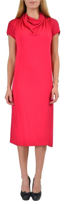 Item - Coral Red 4 Sleeves Women's Stretch Shift Mid-length Short Casual Dress Size 8 (M)