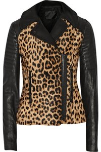 A.L.C. Alc Leopard Animal Leather Biker Moto Motorcycle Coat New Nwt Brand New Tags 6 Cheetah Print Black Pony Hair Calf Hair Motorcycle Jacket