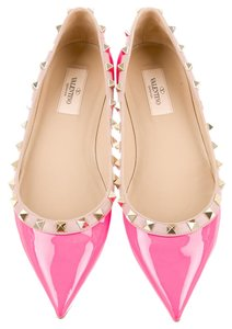 Valentino Pink Patent Patent Leather Pointed Toe Gold Gold Hardware Embellished Textured Studded Spike Spiked 38.5 8.5 New Pink, Gold Flats