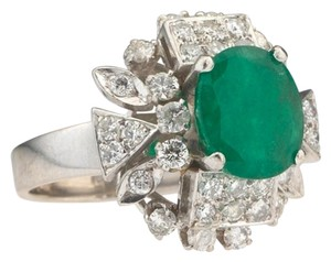 Vintage Ladies 18kt White Gold Oval Emerald and Diamond Ring Size J US 5