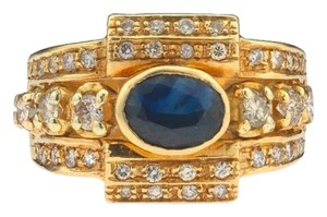 Vintage Ladies 18k Yellow Gold Deep Blue Sapphire and Diamond Ring Q US 8- 1/2