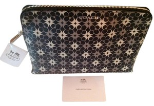 Coach COACH WAVERLY SIGNATURE COATED CANVAS COSMETIC CASE, F50362 SILVER/BLACK/WHITE