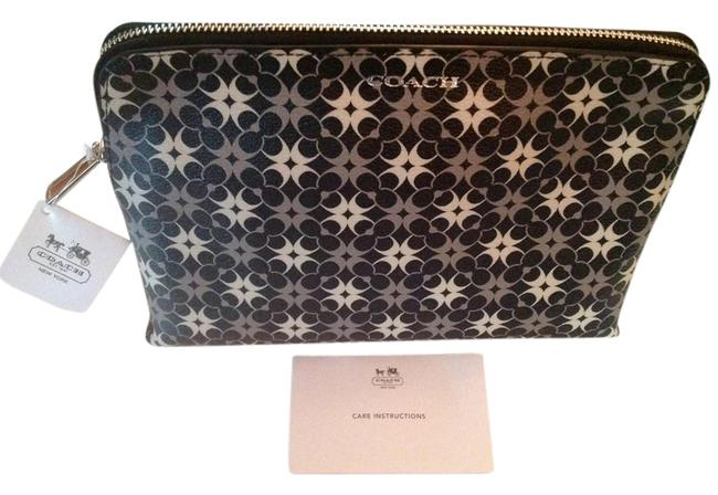 Item - Black Silver White Waverly Signature Coated Canvas F50362 Silver/Black/White Cosmetic Bag