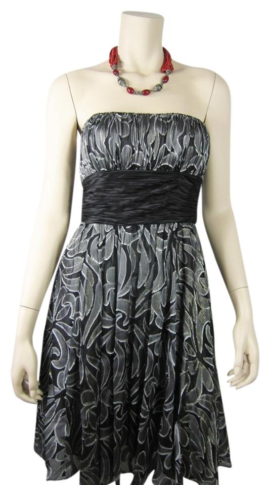 0aeda24b86644 BCBGMAXAZRIA Black/Comb Bcbg Strapless Glitter Grey Paisley Cocktail Night  Out Dress