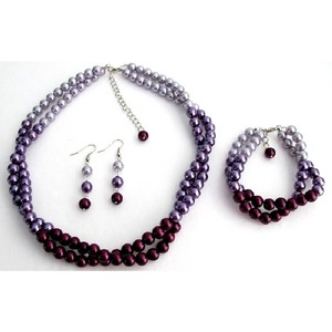Light/Dark Purple Combo Colors Plum Lilac Match with Your Dress Complete Jewelry Set