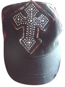 Something Special plaid studded cross baseball cap
