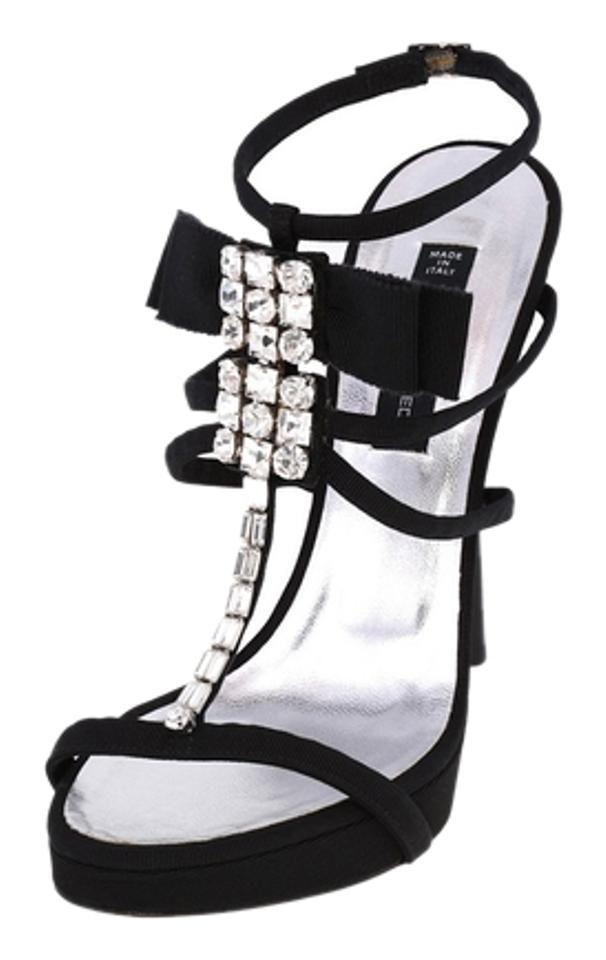 Dsquared2 Black New High-heels Women T-strap Rhinestones Leather High-heels New Stilettos Sandals b920d4