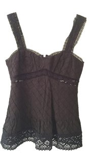 Nanette Lepore Lace Lace Trim Sleeveless Top Black