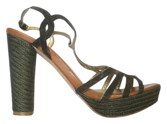 Seychelles Wedge Suede Olive Green Sandals