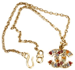 Chanel Chanel Multicolor Crystal & Gold CC Necklace