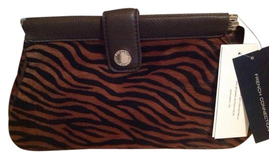 French Connection Calf Hair Leather Sweetie Brown/black Clutch