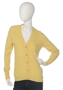 Hermès Cashmere Yellow Cable Knit Cardigan