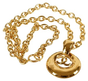 Chanel Chanel Gold CC Crescent Necklace