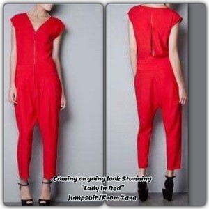 Zara Zara/Unique Red/ Silver Zipper Front/Cut Out back/Banded waist/Harem Style Pant that Tapper To A Skinnie Ankle! Poly Blend
