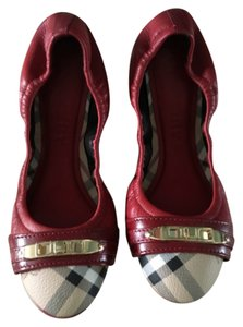 Burberry Red with burberry print Flats