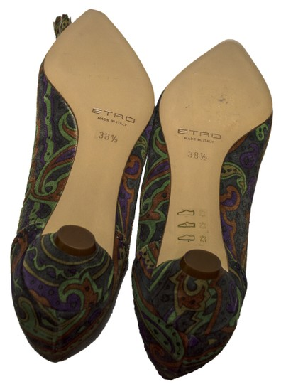 Etro teal / purple / olive Pumps