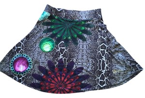 Desigual Snakeskin Sequin Colorful Skirt Brown